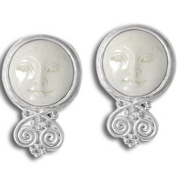 Goddess Clip On Earrings with Silver Accents
