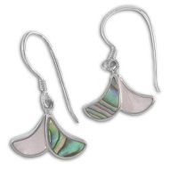 Paua Shell and Mother of Pearl Dangle Earrings