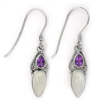 Moonstone and Amethsyt Pear Dangle Earrings