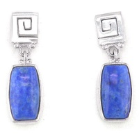 Sterling Silver Geometric Design Earrings with Denim Lapis