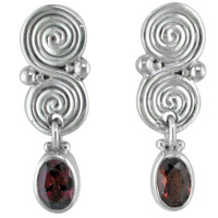 Garnet Faceted Oval Post Earrings with Double Swirls
