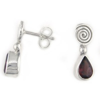 Faceted Garnet Post Earrings With Spiral
