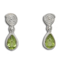 Faceted Peridot Post Earrings With Spiral