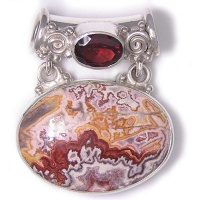 Mexican Crazy Lace Agate and Garnet Pendant