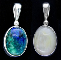 Bluebird Azurite and Mother of Pearl Reversible Pendant