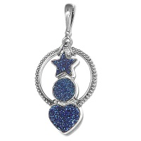 Druzy Heart and Star Pendant