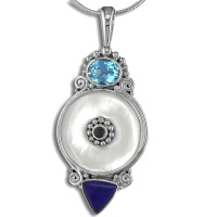 Mother of Pearl, Swiss Blue Topaz Pendant with Lapis and Iolite