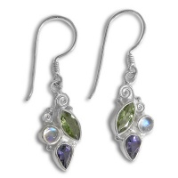 Peridot, Moonstone & Iolite Dangle Earrings