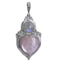 Pink Mother of Pearl Heart and Rainbow Moonstone Silver Pendant