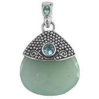 Ocean Blue Chacedony Pendant with Apatite & Blue Topaz