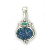 Sparkling Caribbean Druzy Pendant with Opal Doublet Marquis