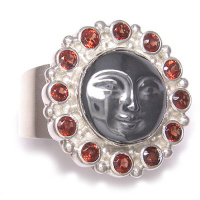 Hematite Goddess Face with Garnet Ring