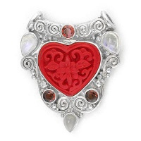 Cinnabar Heart Pendant with Garnet and Moonstone