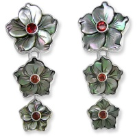 Black Mother of Pearl Flower Clip Earrings with Garnet
