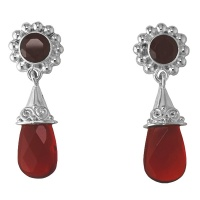 Red Opalite Drop Earrings with Garnet
