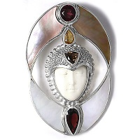 Goddess Pin Pendant with Shell, Garnet, and Citrine
