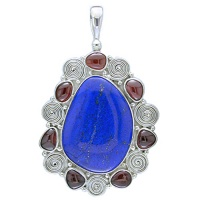 Lapis Freeform and Garnet Pendant