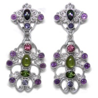 Peridot, Amethyst, Iolite, & Topaz Sterling Silver Earrings