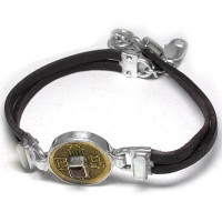 Chinese Coin, Garnet and Mother of Pearl Leather Bracelet