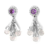 Amethyst and Pink Opalite Post Earrings
