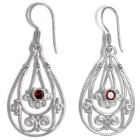 Sterling Silver Faceted Garnet Dangle Earrings