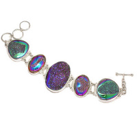 Rainbow Window Druzy Link Bracelet