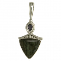 Labradorite Trillion Pendant with Iolite