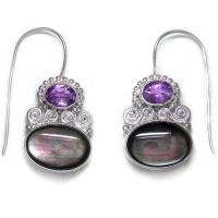 Rainbow Black Shell and Amethyst Earrings