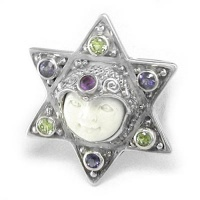 Goddess Star Ring with Iolite, Peridot and Amethyst