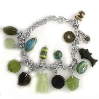 Carved Jade, Bone & Porcelain Bead Charm Bracelet
