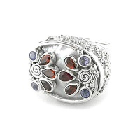 Multi-Gemstone Mother of Pearl Ring