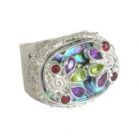Multi-Gemstone Paua Shell Ring