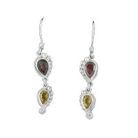 Garnet & Citrine Dangle Earrings
