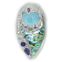 Turquoise Goddess Pin-Pendant with Iolite, Peridot, Amethyst, and Moonstone