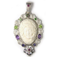 Hand-Carved Goddess, Shell Flower & Multi Gemstone Pendant