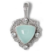 Blue Chalcedony and Aquamarine Pendant