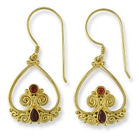 22K Vermeil Earrings with Ruby and Garnet