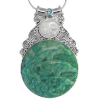 Mother of Pearl Goddess Pendant with Brazilian Amazonite Dolphins & Apatite