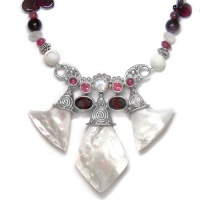 Mother of Pearl, Garnet, Pink Tourmaline on Beaded Necklace