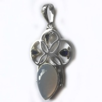 Blue Chalcedony and Iolite Pendant