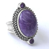Charoite and Amethyst Ring with Beadwork
