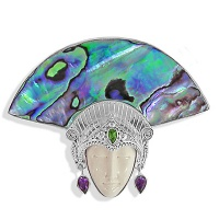 Goddess Pin Pendant with Paua Shell Fan