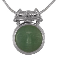 "Aventurine Goddess Pendant with Tube Bale & 18"" Chain"