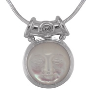 "Mother of Pearl Goddess Pendant with Tube Bale & 18"" Chain"