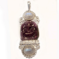 Sterling Ruby Ganesh and Rainbow Moonstone Pendant