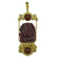 Ruby Ganesh and Garnet Vermeil Pendant