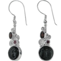 Rainbow Obsidian Goddess Earrings with Garnet & Ruby
