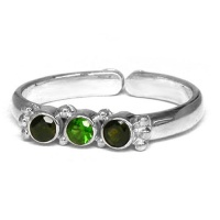 Chrome Diopside and Green Tourmaline Ring