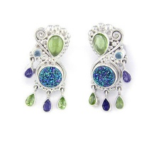 Caribbean Druzy Earrings with Peridot, Iolite and Apatite