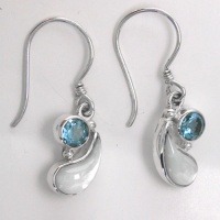 Mother of Pearl and Swiss Blue Topaz Dangle Earrings